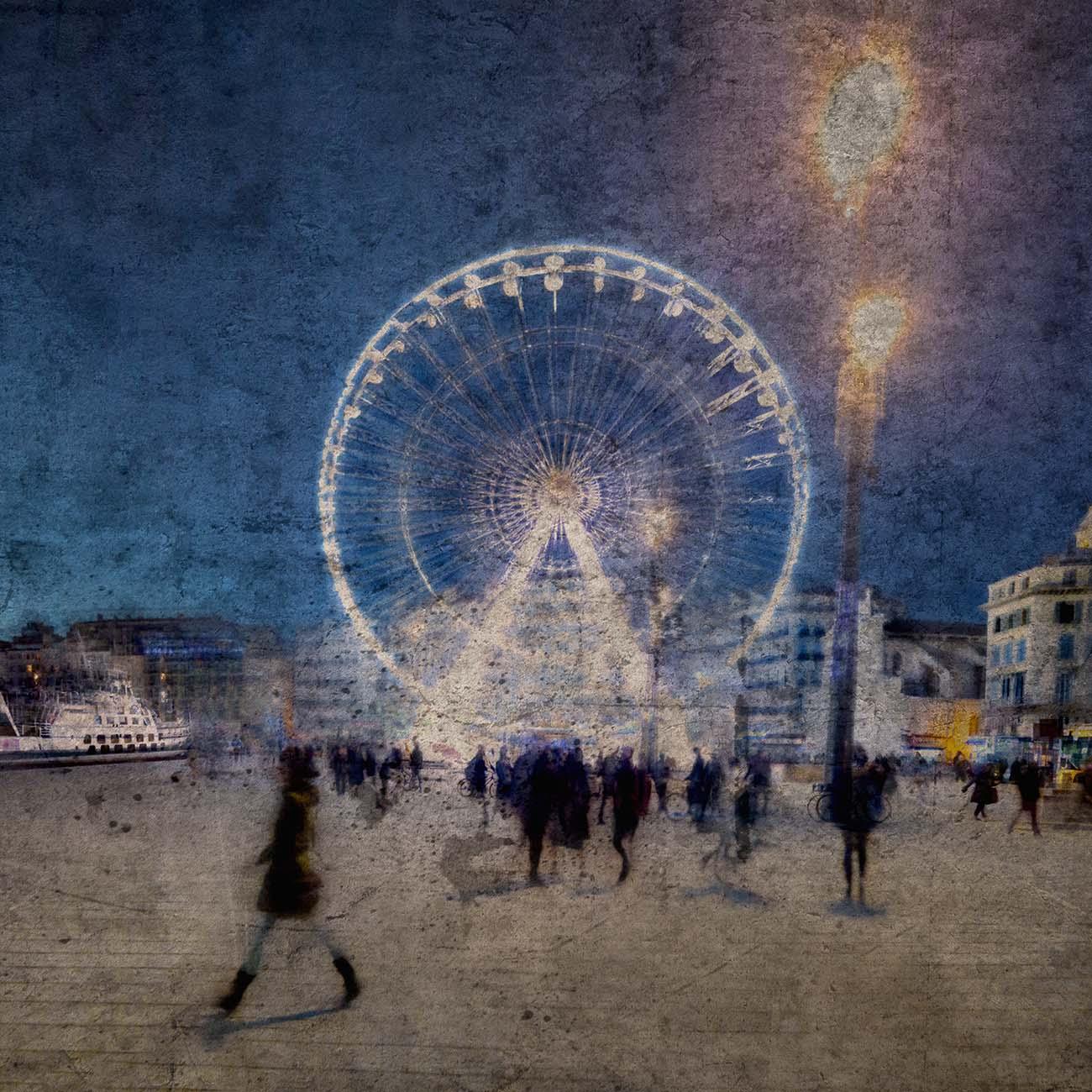 La grande roue Vieux-port Bleu Marseille Paul-Louis LEGER Photographe