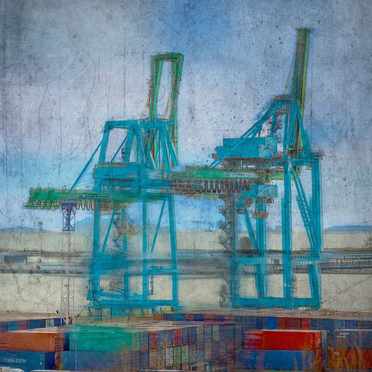 Les grues Bleu Port autonome Marseille Photographe Paul-Louis LEGER