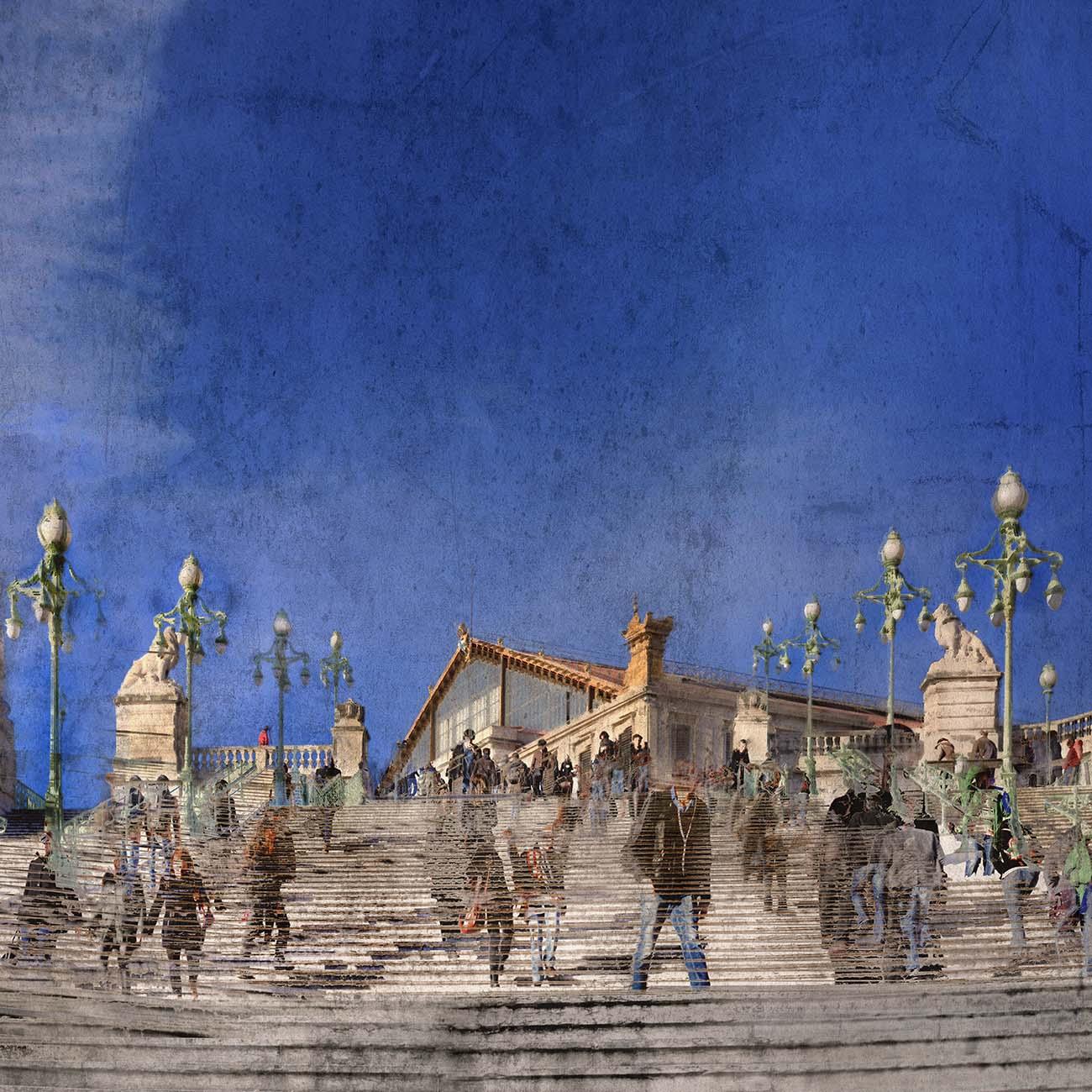 Gare Saint-Charles Bleu Marseille Paul-Louis LEGER Photographe